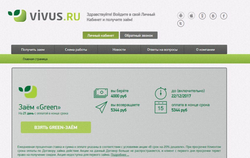 Способы получения займа Vivus